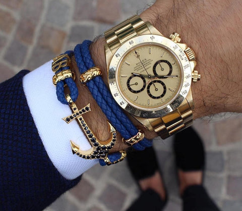 Personalised Navy Leather Bracelet with Initials & Gold Watch Combo