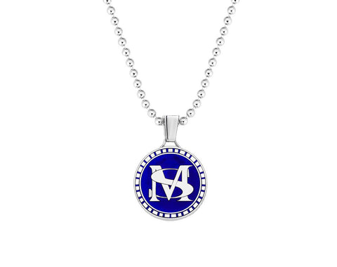 Premium Statement Blue Lacquer Pendant in Silver