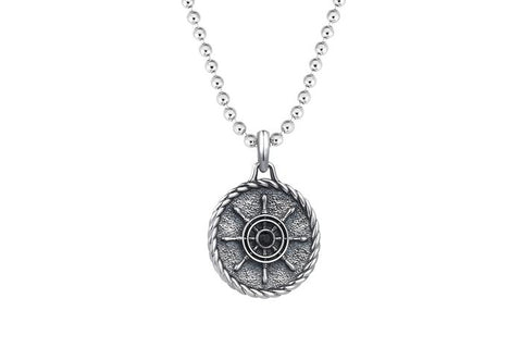 Rudder Necklace Pendant in Solid Silver