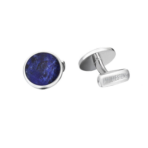 Blue Sodalite Cufflinks in 925 Sterling Silver