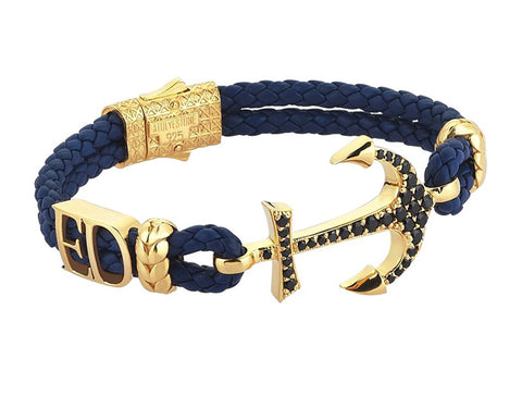 Customizable Anchor Leather Bracelet with Letters