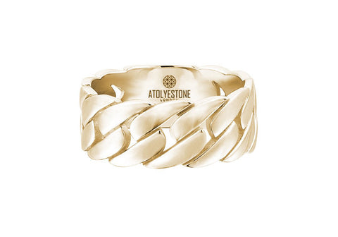 Men's Chain Ring in Solid Gold