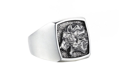 Men's Solid Silver Ring with Wolf Motive