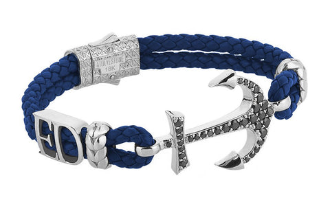 Statement Anchor Leather Bracelet in Solid White Gold