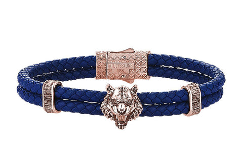 Blue leather Bracelet with Rose Gold