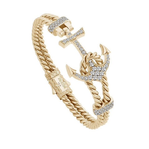 Twined Solid Gold Anchor Bangle with Diamonds