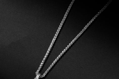 Men's Wheat Chain Necklace in Sterling Silver