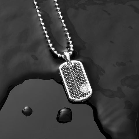 Soldier Tag Necklace - Pave Cubic Zirconia