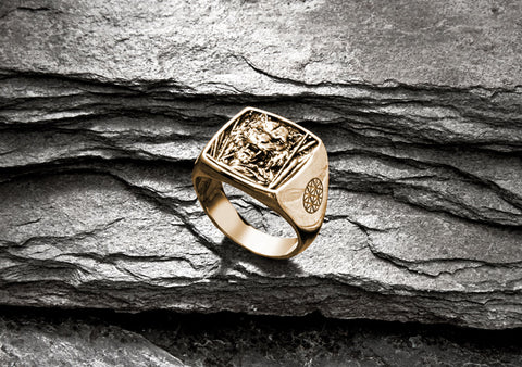Tiger Cushion Ring in Gold