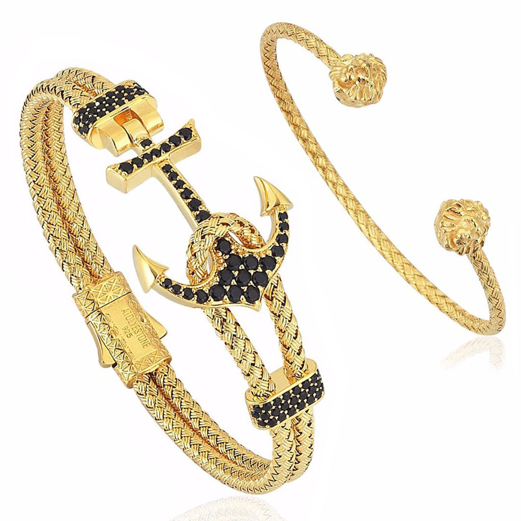 Mens Premium Anchor and Leo Bundle in Yellow Gold