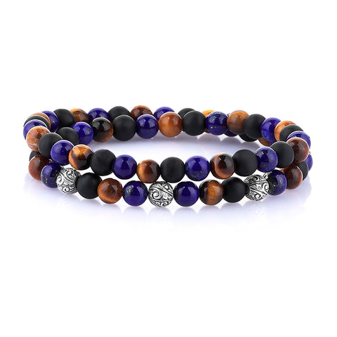 Grey Jasper Apex Beaded Bracelet -Solid Gold