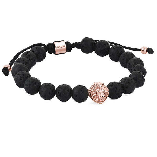 Mens Leo Beaded Macrame Bracelet - Rose Gold