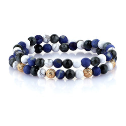 Mens Chelsea Double Beaded Bracelet