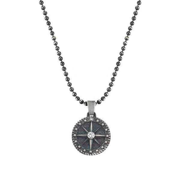 Mens Compass Necklace - White Diamond