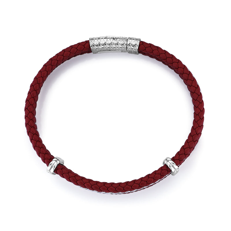 Triple Row Leather Bracelet - Dark Red Leather