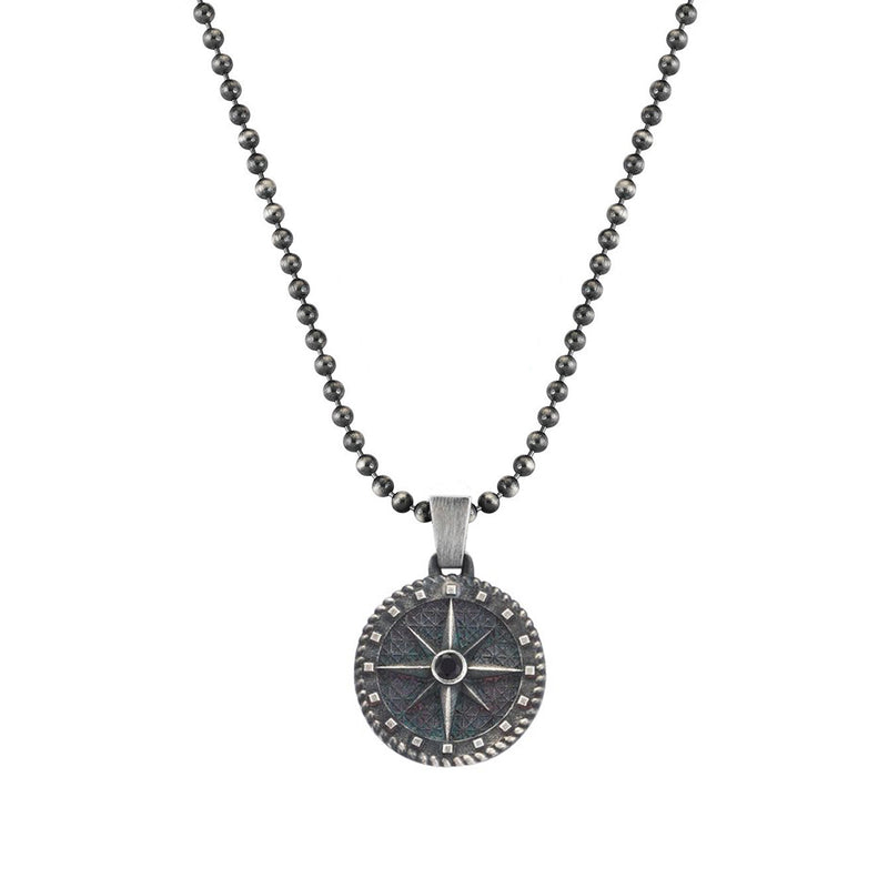 Mens Compass Necklace - Solid Silver