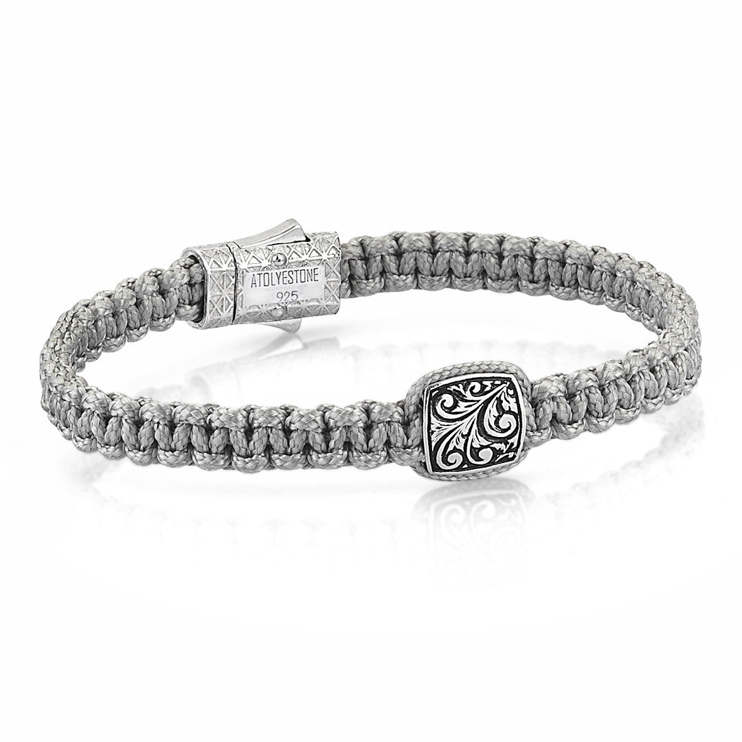 Solitaire Classic Macrame Bracelet - Solid Silver