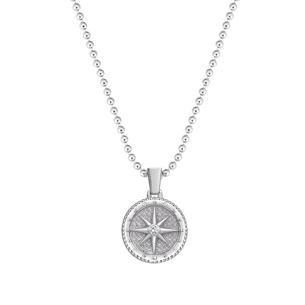Diamond Compass Necklace - Solid Silver