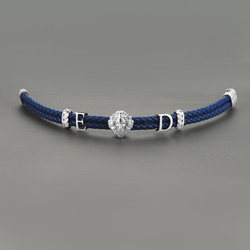 Women's Statements Leo Leather Bracelet - Blue Leather - Solid Silver