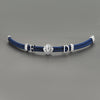 Statements Leo Leather Bracelet - Blue Leather - Solid Silver