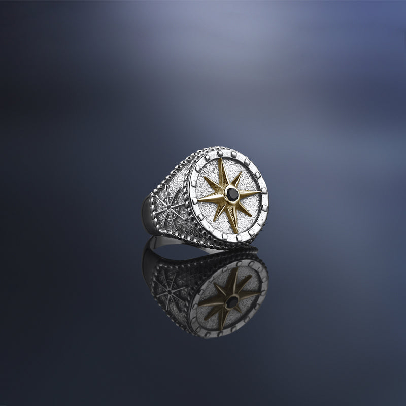 Mens Compass Ring With Solid Gold - Yellow Gold