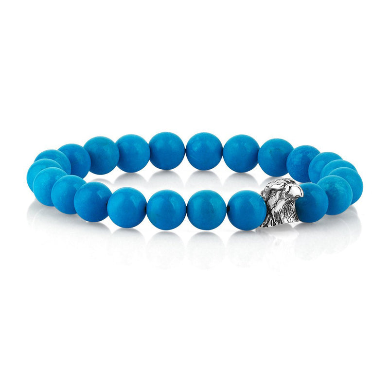 Mens Exclusive Eagle Beaded Bracelet - Turquoise