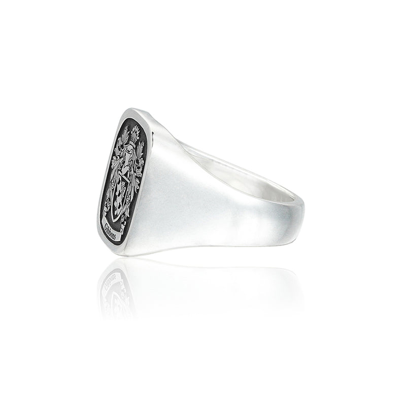 Mens Signet Square Ring Base for Family Crest - Silver
