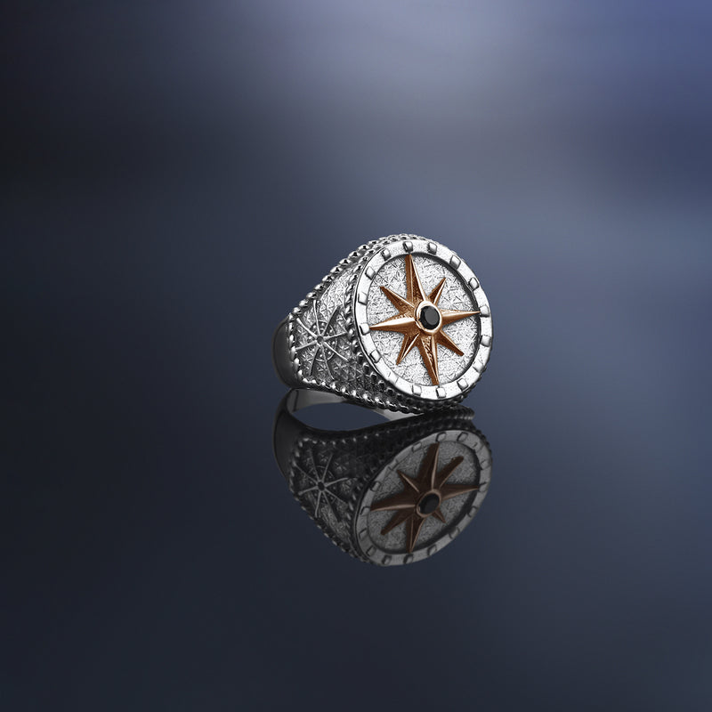 Mens Compass Ring With Solid Gold - Rose Gold