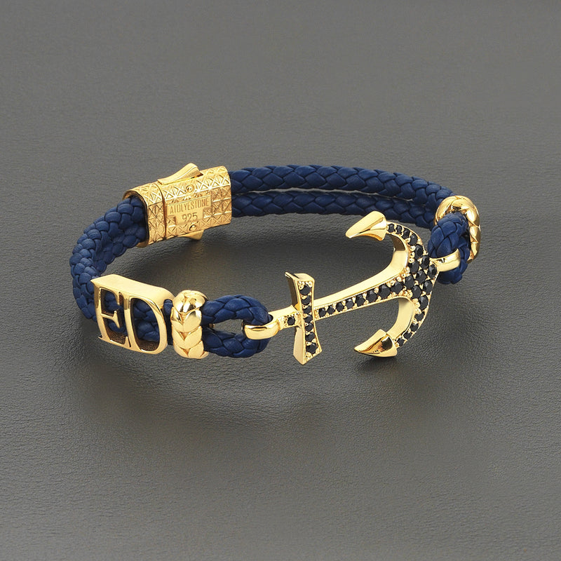 Mens Statements Anchor Leather Bracelet - Gold