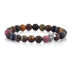 Mens Exclusive Eagle Beaded Bracelet - Multi Sapphire