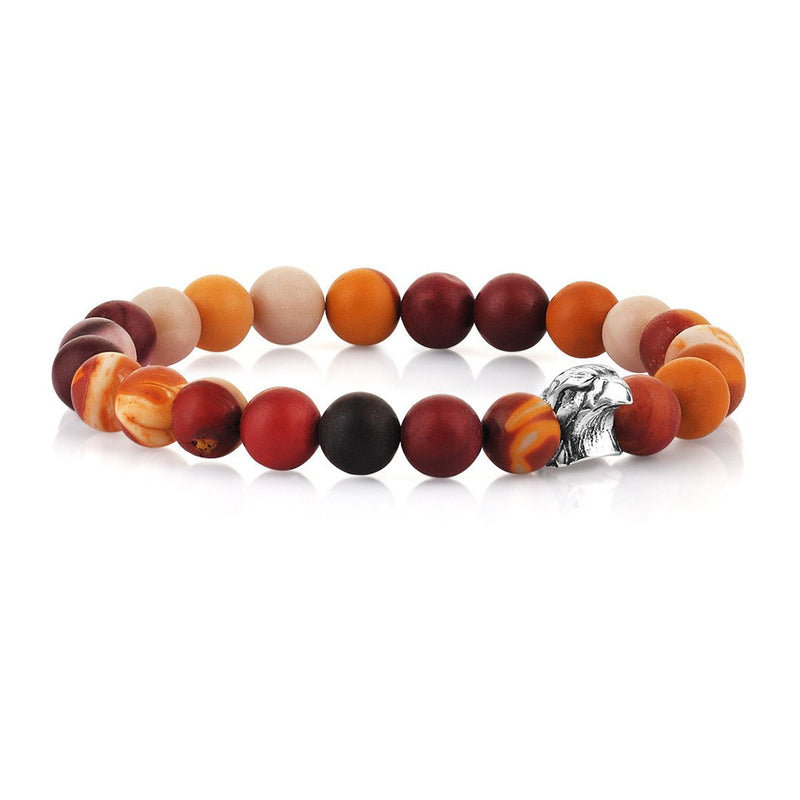 Mens Exclusive Eagle Beaded Bracelet - Mookaite