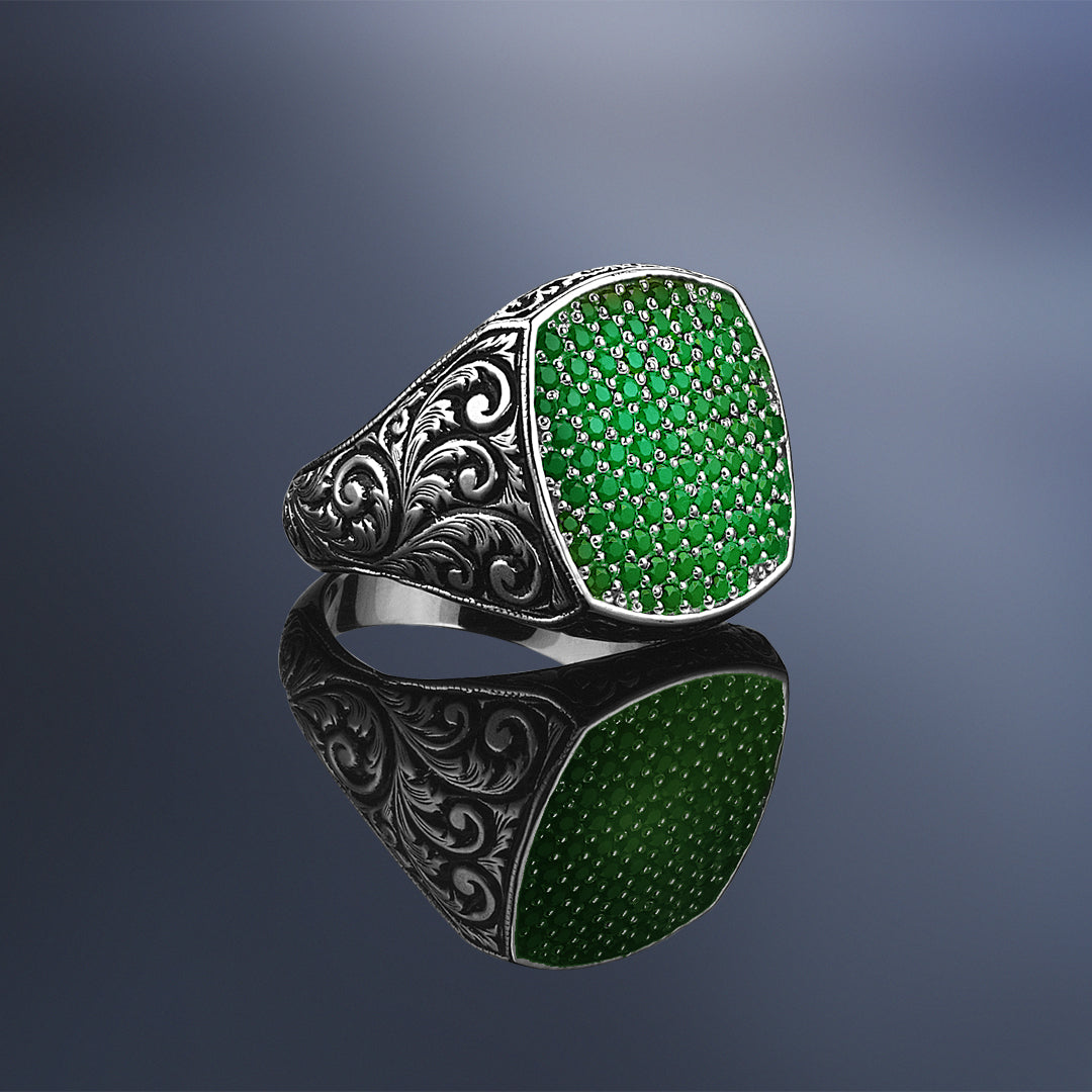 Classic Cushion Pave Ring - Solid Silver