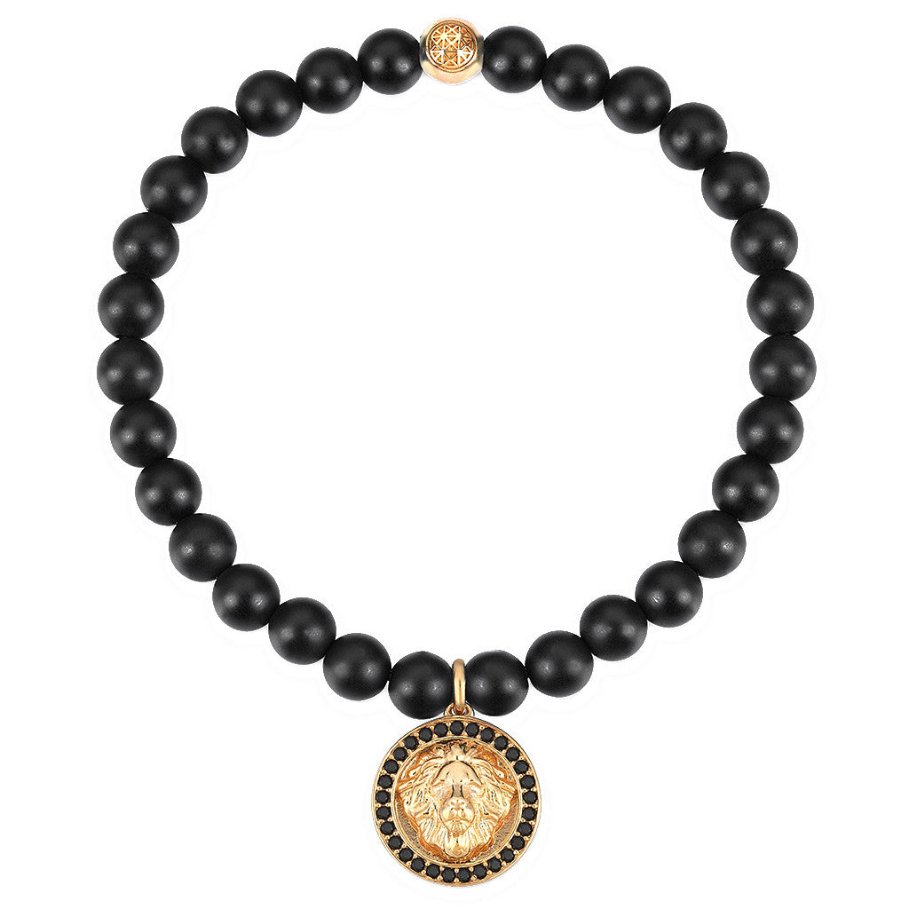 Mens Leo Charm Bracelet - Yellow Gold - Agate