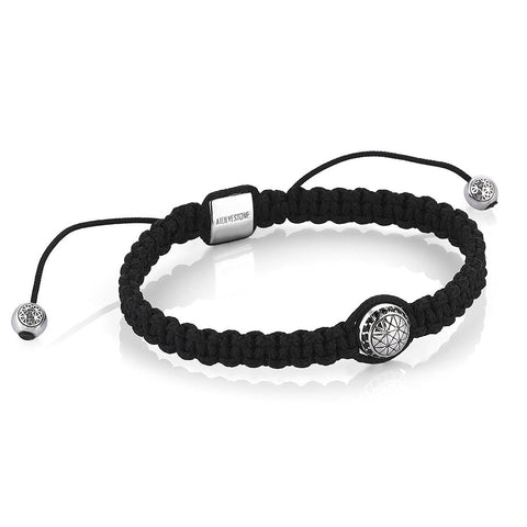 Classic Anchor Leather Bracelet -  Solid Silver