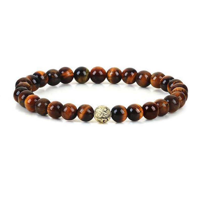 Mens Classic Beaded Bracelet - Yellow Gold - Tiger Eye