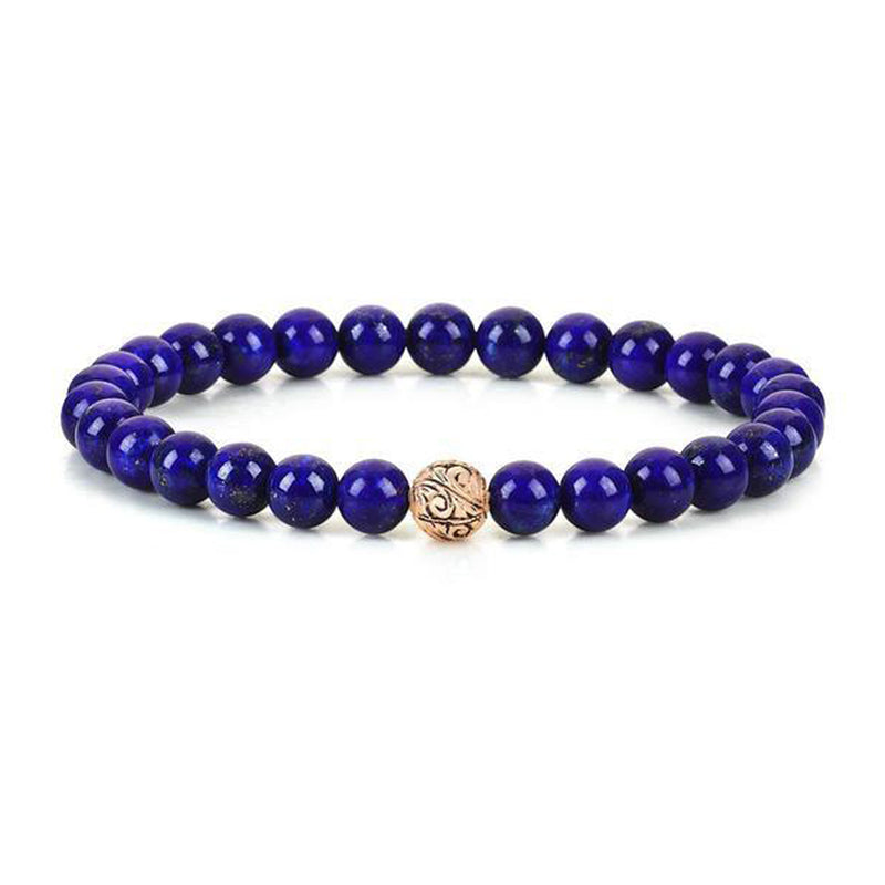 Mens Classic Beaded Bracelet - Rose Gold - Lapis Lazuli