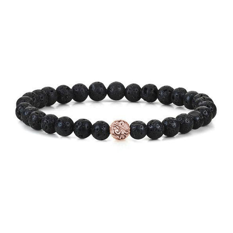 Mens Classic Beaded Bracelet - Rose Gold - Lavastone
