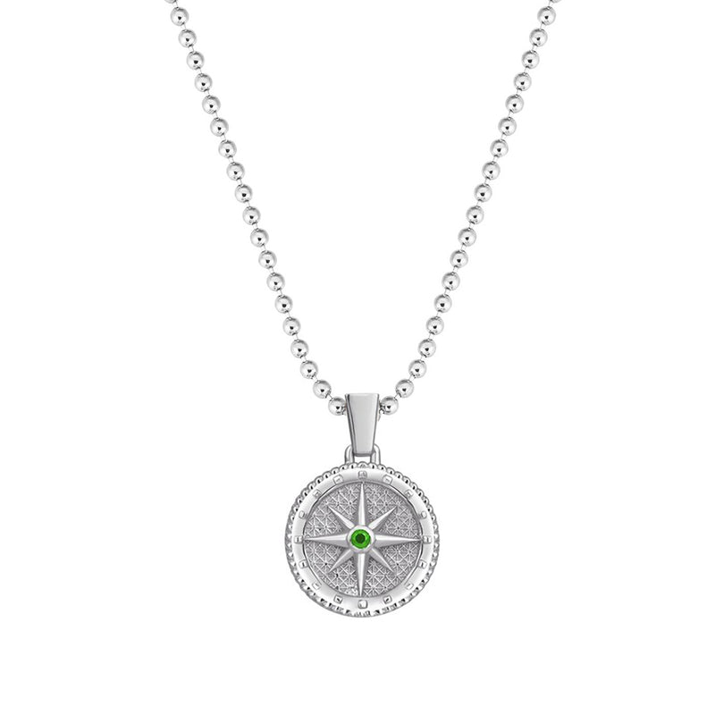Mens Compass Necklace with Emerald