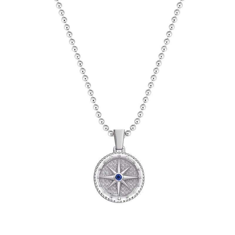 Compass Necklace with Sapphire