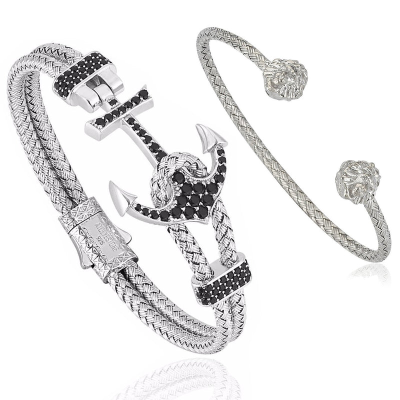Mens Premium Anchor and Leo Bundle in White Gold