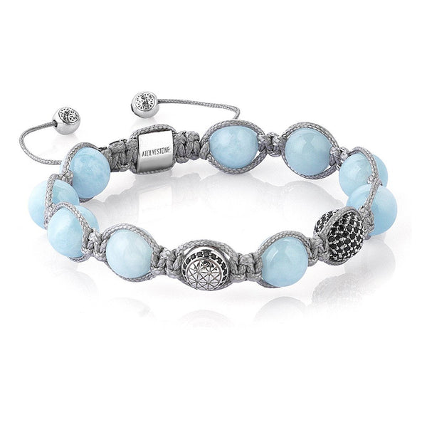 Exclusive Beaded Macrame Bracelet - Aquamarine