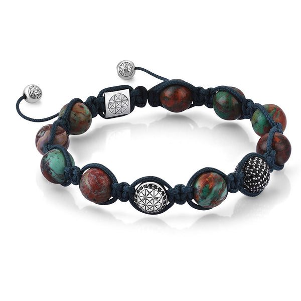Zenith Beaded Macrame Bracelet - Men - Silver - Green Chrysocolla