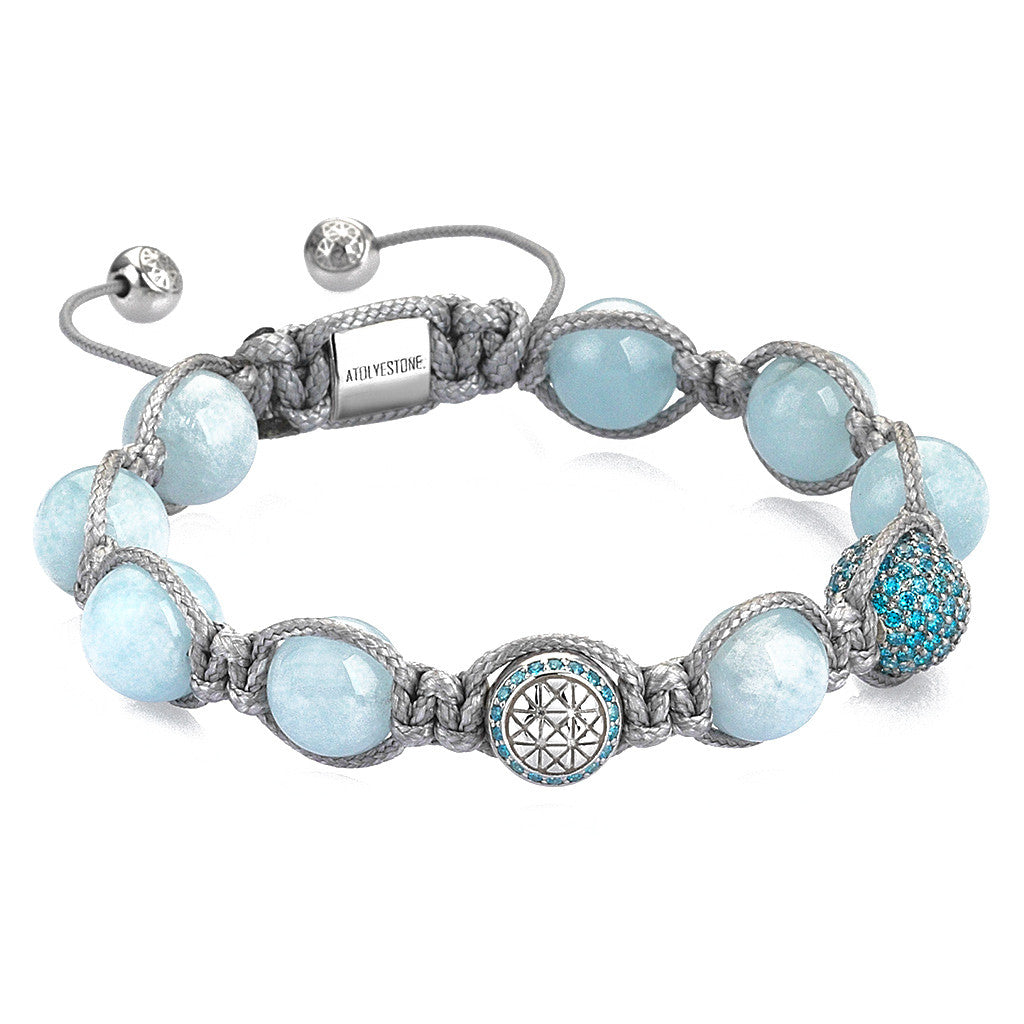 Aquamarine Macrame Bracelet For Her