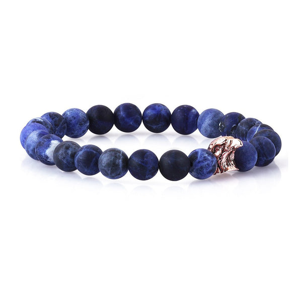Eagle Beaded Bracelet - Solid Rose Gold - Sodalite