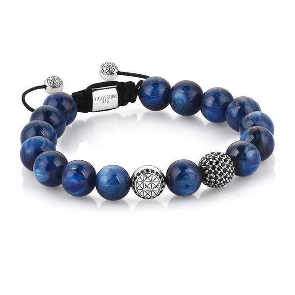 MENS EXCLUSIVE SIGNATURE BEADED MACRAME BRACELET - SILVER