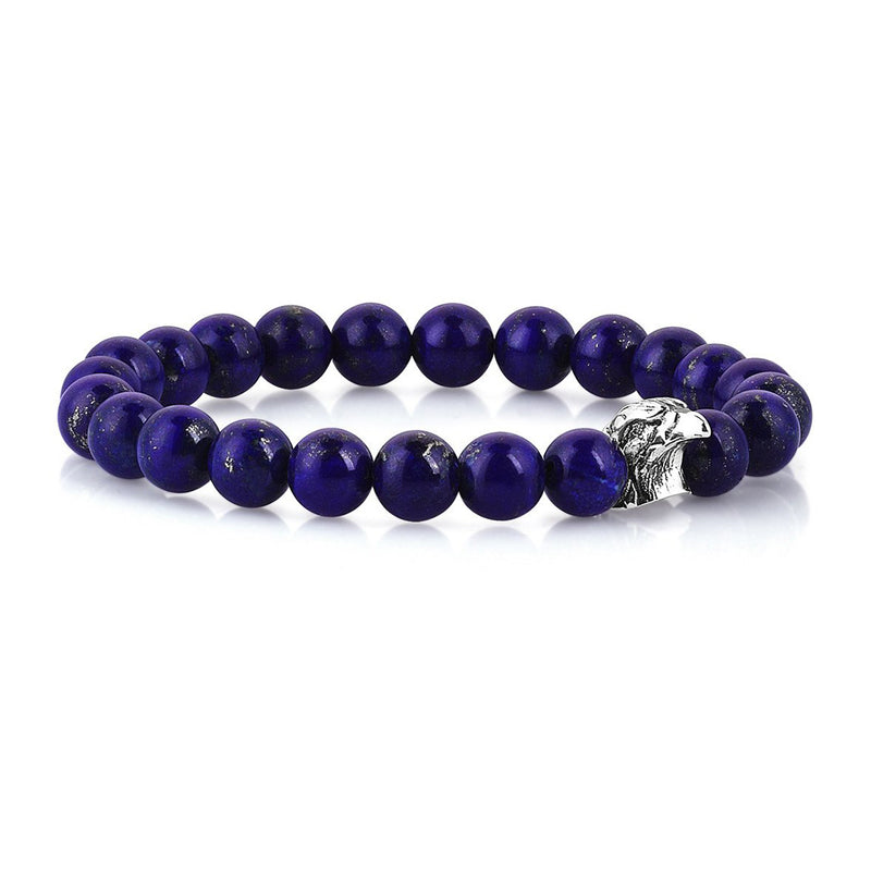 Mens Exclusive Eagle Beaded Bracelet - Lapis Lazuli