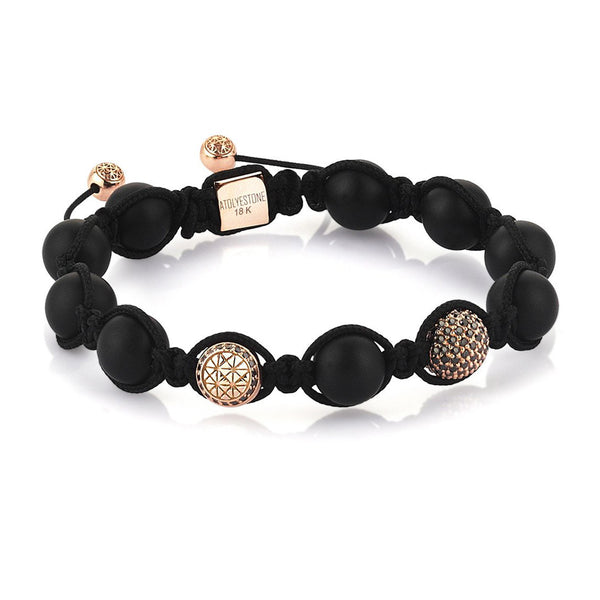 Black  Beaded Shamballa Bracelet - 14K Rose Gold Bracelet - Cubic Zirconia