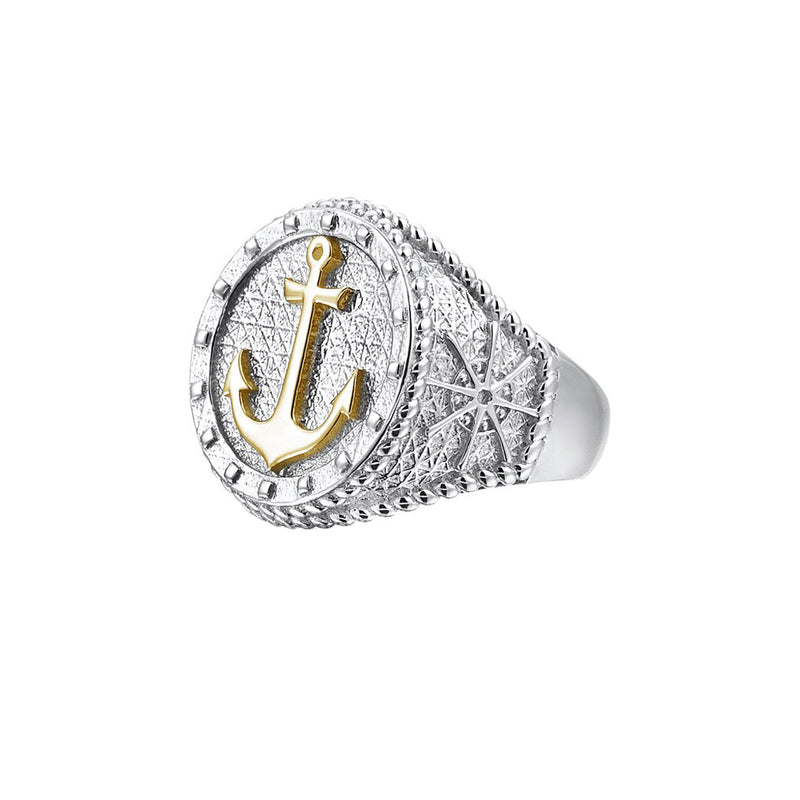Sailor's Anchor Ring With Solid Gold - Yellow Gold