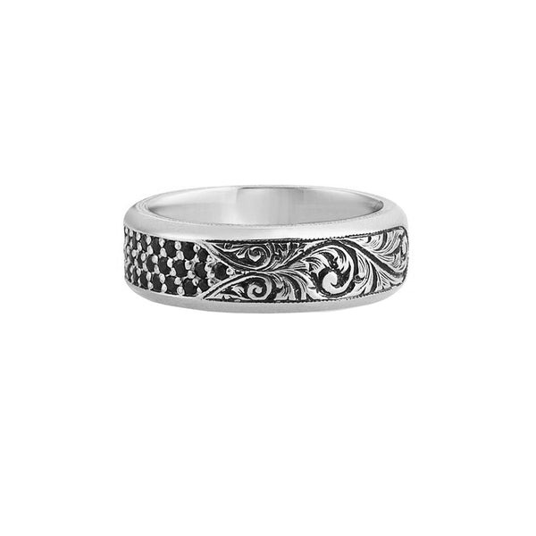 Classic Pave Band Ring - Solid Gold - White Gold