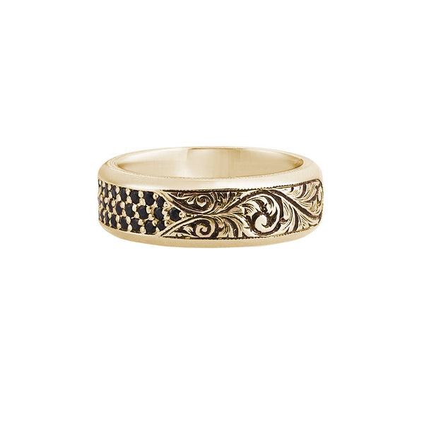 Classic Pave Band Ring - Solid Gold - Yellow Gold